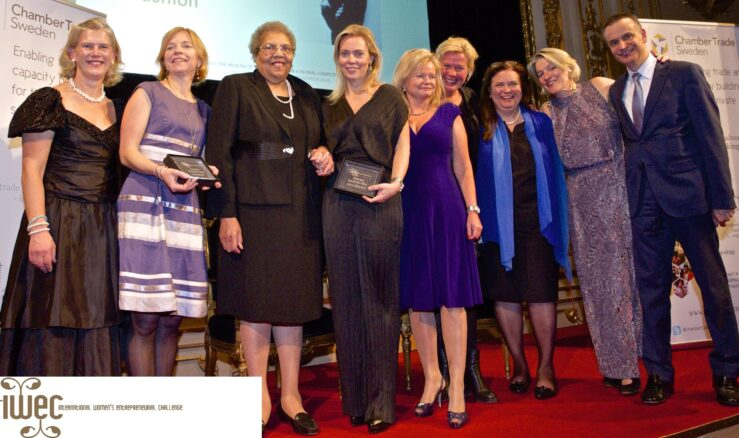 2014 in Stockholm: Karin Bodin, Polarbröd, Karin Söderlind, House of Dagmar, and Emy Blixt (missing in picture), Swedish Hasbeens together with IWEC's chair Ruth Davis, previous Swedish IWEC awardees, Malin Dacke and Charlotte Kalin, Make Trade
